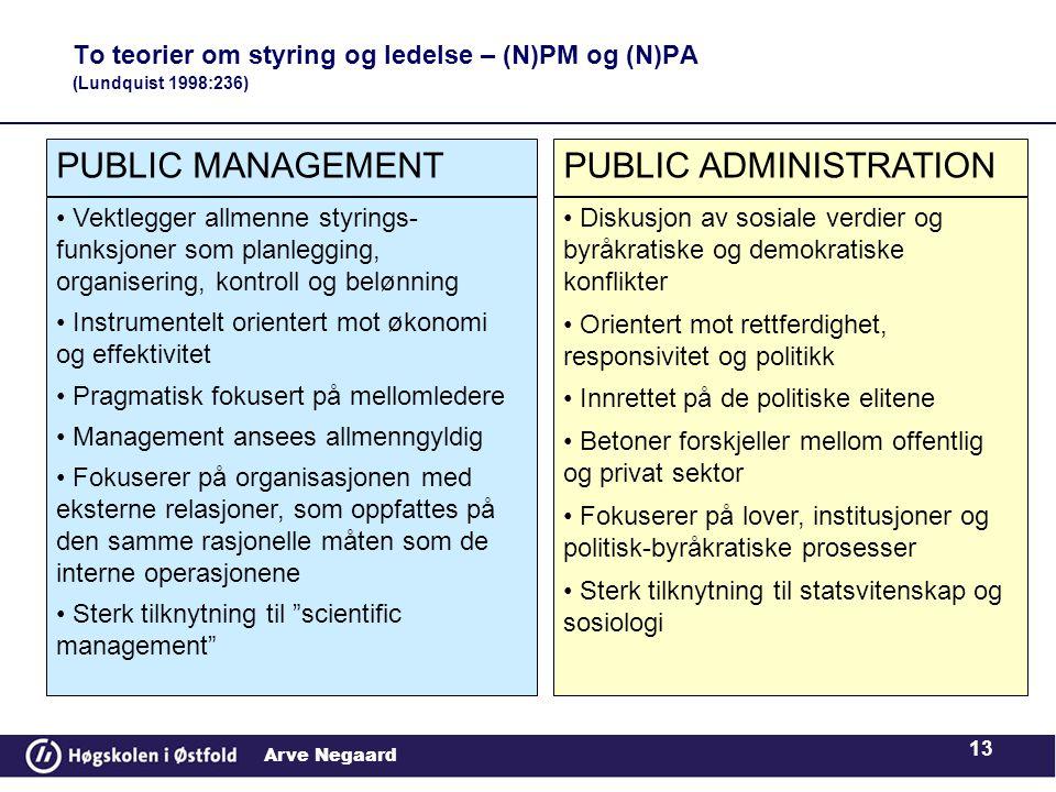 To teorier om styring og ledelse – (N)PM og (N)PA (Lundquist 1998:236)