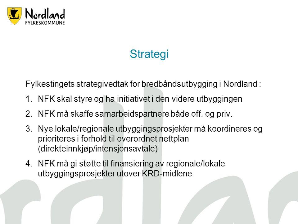 Strategi Fylkestingets strategivedtak for bredbåndsutbygging i Nordland : NFK skal styre og ha initiativet i den videre utbyggingen.