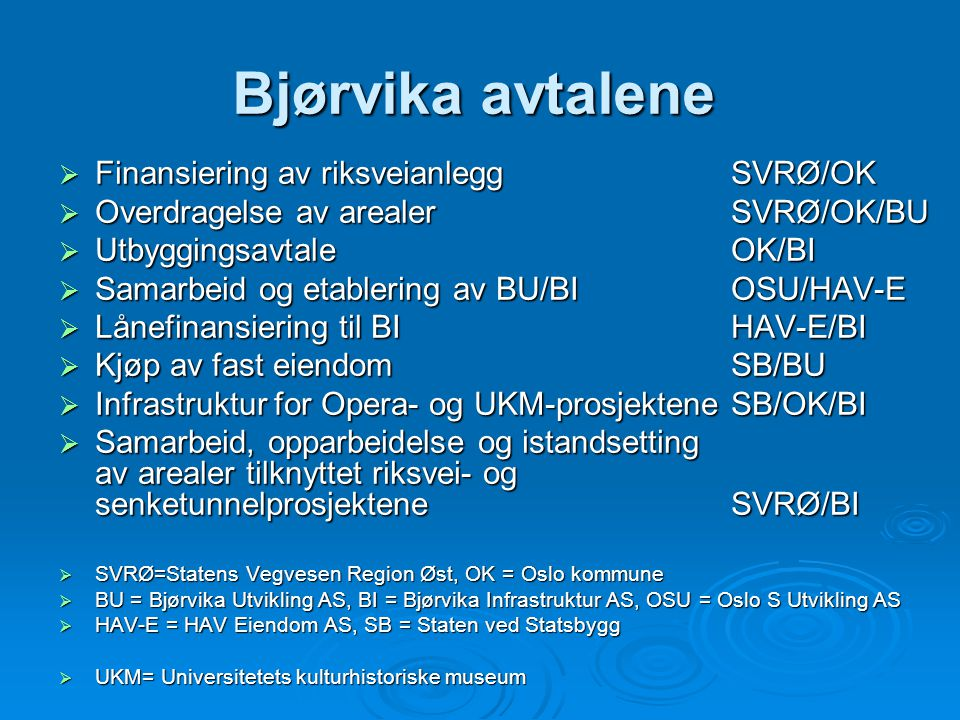 Bjørvika avtalene Finansiering av riksveianlegg SVRØ/OK