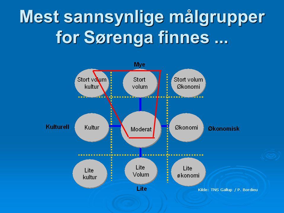 Mest sannsynlige målgrupper for Sørenga finnes ...