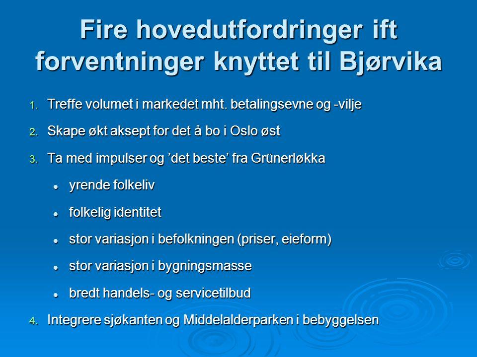 Fire hovedutfordringer ift forventninger knyttet til Bjørvika