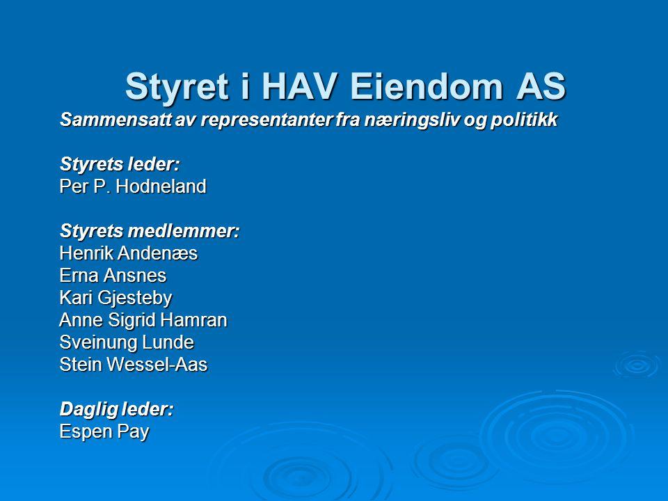 Styret i HAV Eiendom AS Sammensatt av representanter fra næringsliv og politikk. Styrets leder: Per P. Hodneland.