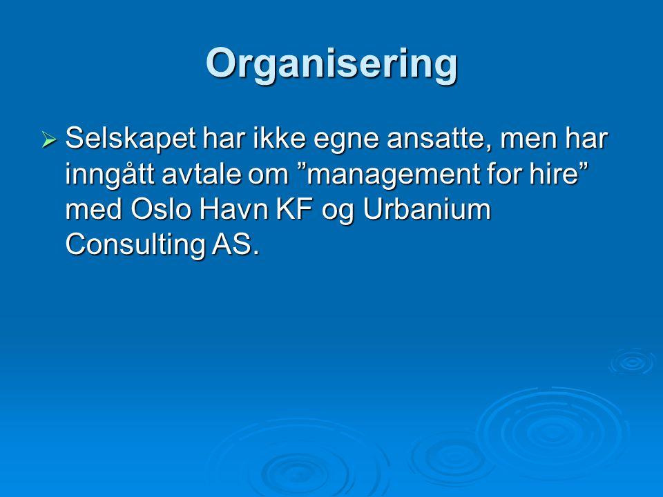 Organisering Selskapet har ikke egne ansatte, men har inngått avtale om management for hire med Oslo Havn KF og Urbanium Consulting AS.