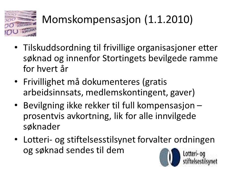 Momskompensasjon (1.1.2010) Tilskuddsordning til frivillige organisasjoner etter søknad og innenfor Stortingets bevilgede ramme for hvert år.