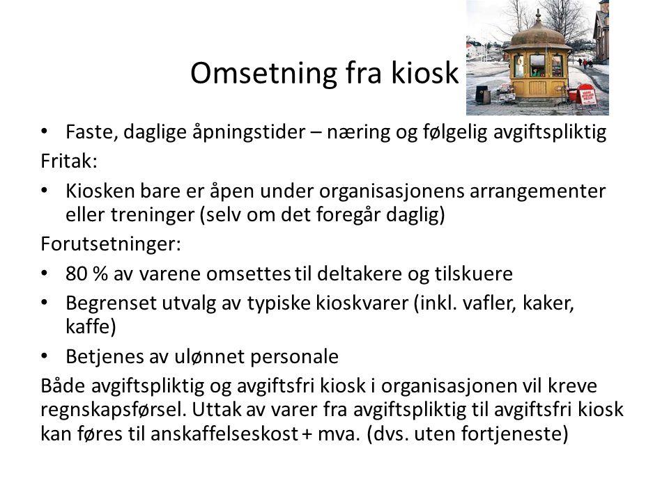 Omsetning fra kiosk Faste, daglige åpningstider – næring og følgelig avgiftspliktig. Fritak: