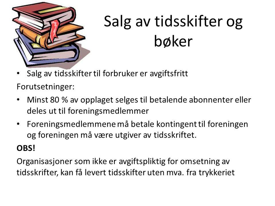 Salg av tidsskifter og bøker