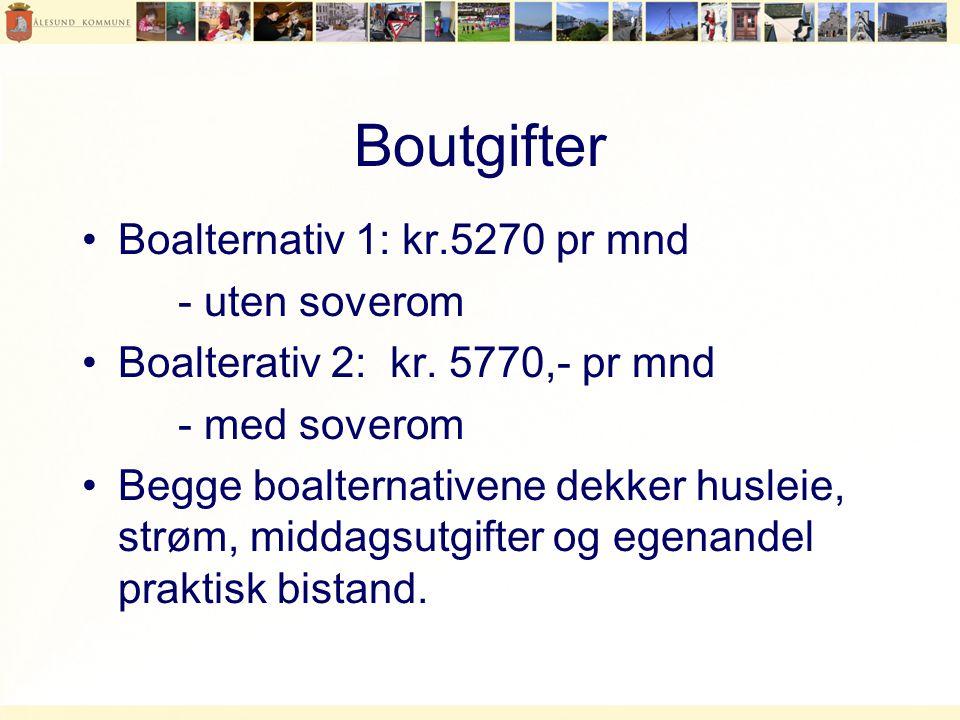 Boutgifter Boalternativ 1: kr.5270 pr mnd - uten soverom