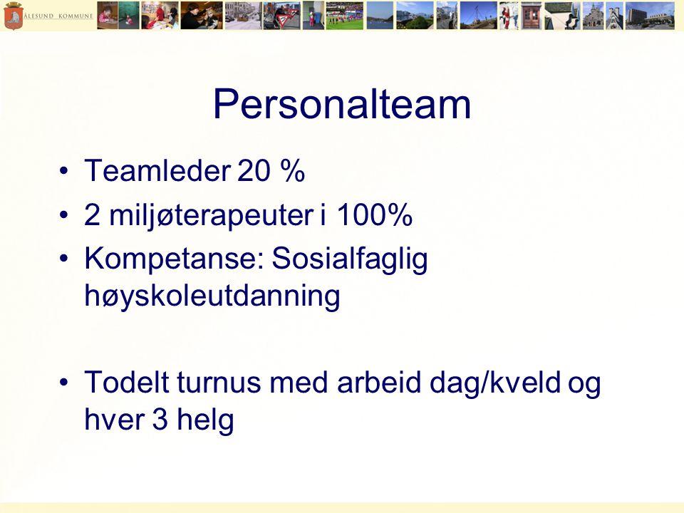Personalteam Teamleder 20 % 2 miljøterapeuter i 100%