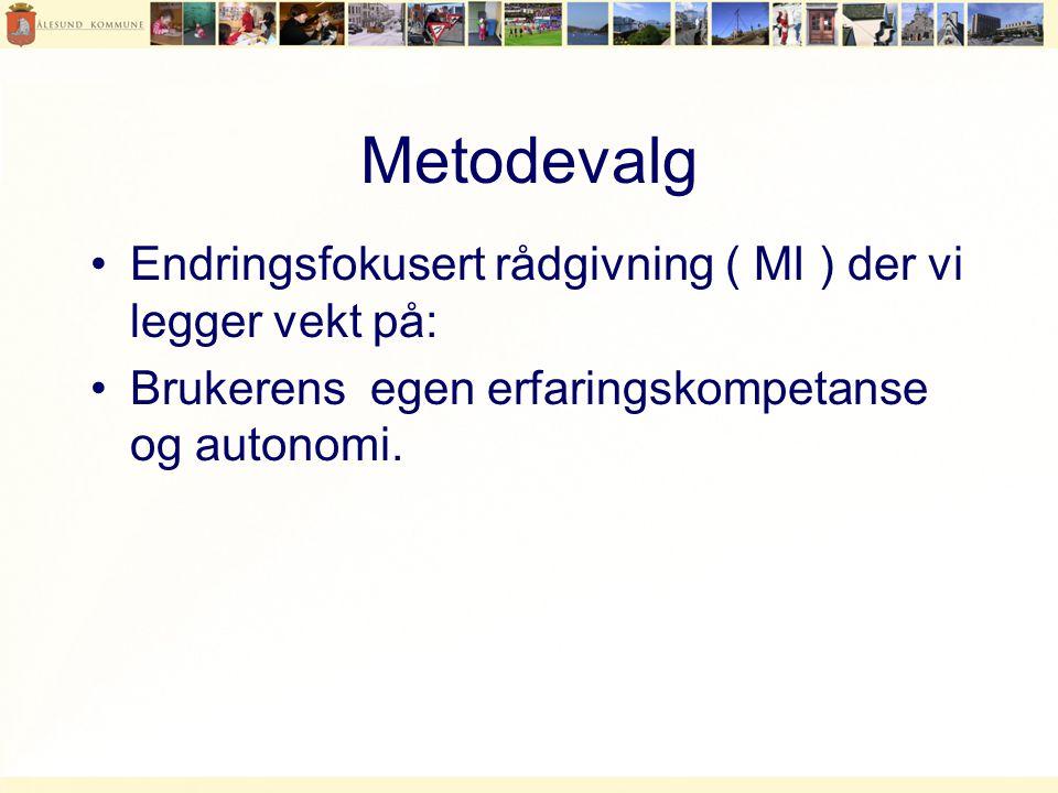 Metodevalg Endringsfokusert rådgivning ( MI ) der vi legger vekt på: