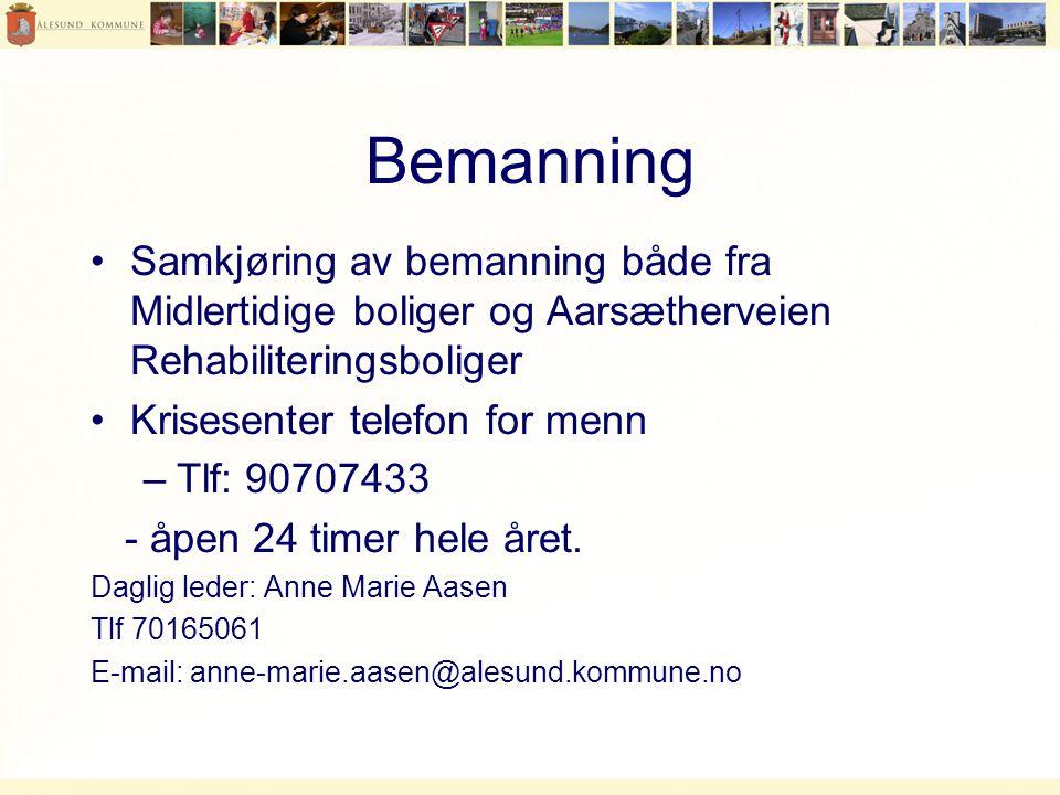 Bemanning Samkjøring av bemanning både fra Midlertidige boliger og Aarsætherveien Rehabiliteringsboliger.