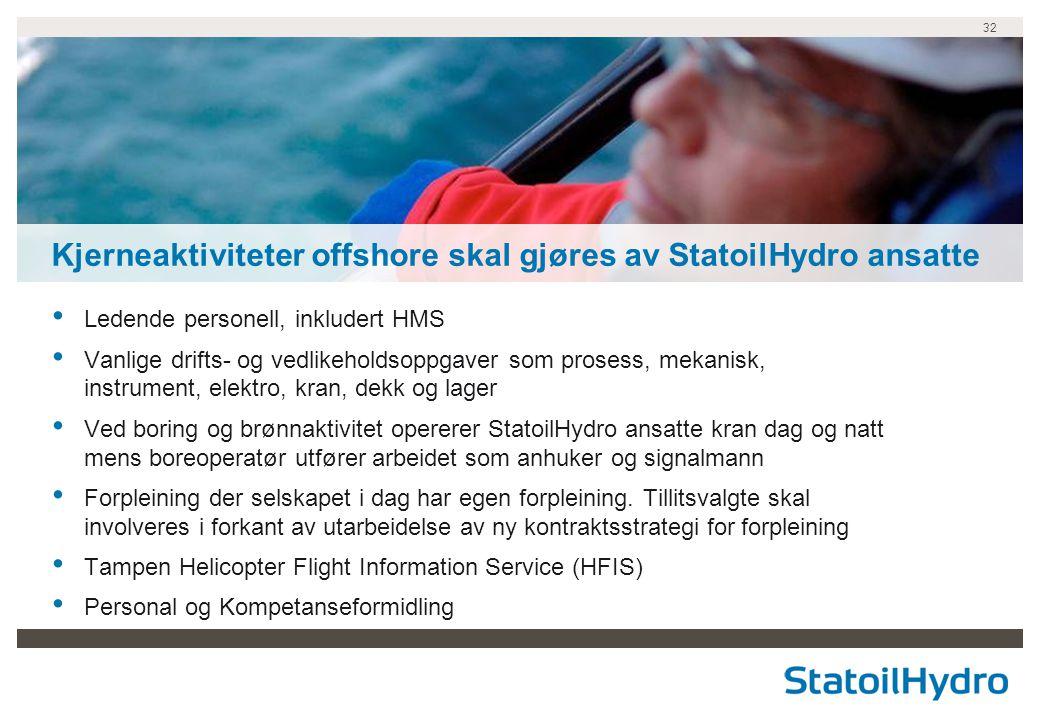 Kjerneaktiviteter offshore skal gjøres av StatoilHydro ansatte
