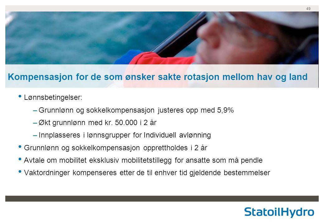 Kompensasjon for de som ønsker sakte rotasjon mellom hav og land