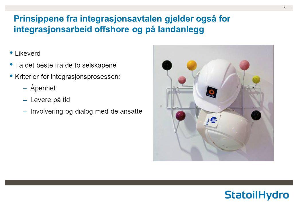 Prinsippene fra integrasjonsavtalen gjelder også for integrasjonsarbeid offshore og på landanlegg