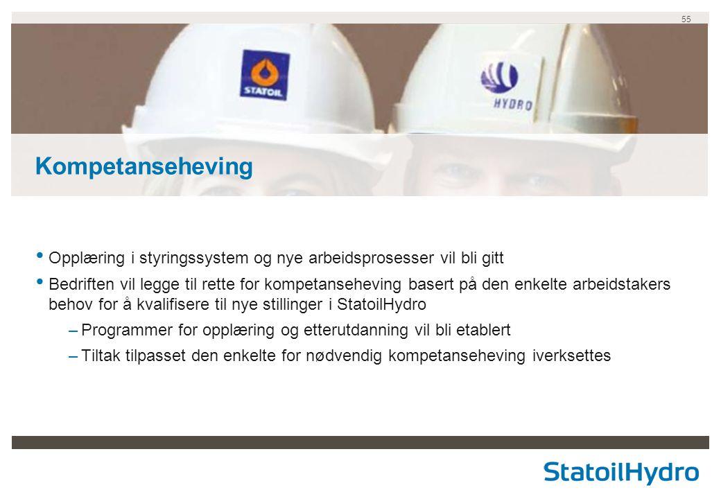 Kompetanseheving Opplæring i styringssystem og nye arbeidsprosesser vil bli gitt.