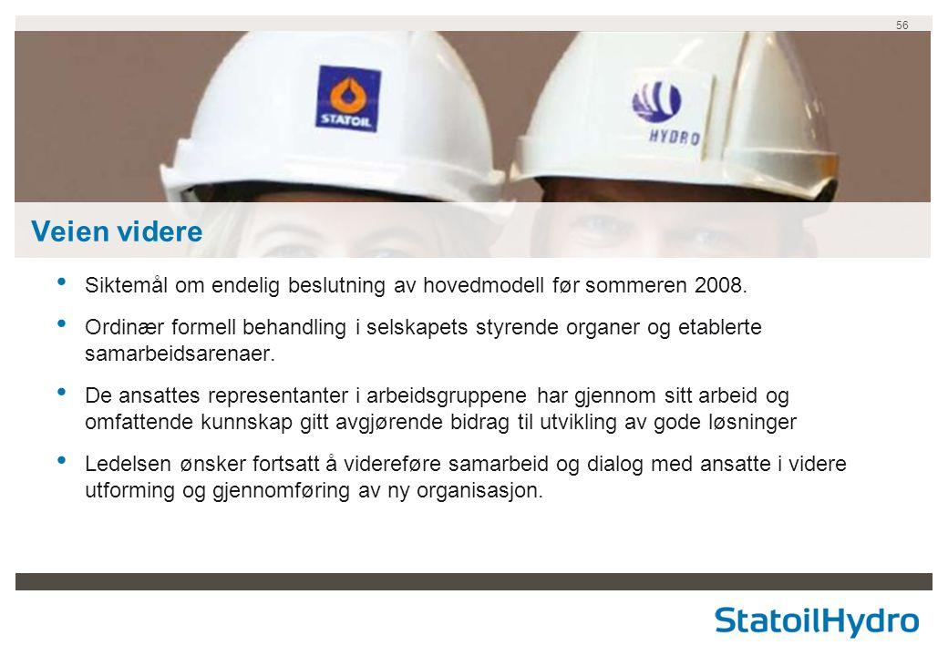 Veien videre Siktemål om endelig beslutning av hovedmodell før sommeren 2008.