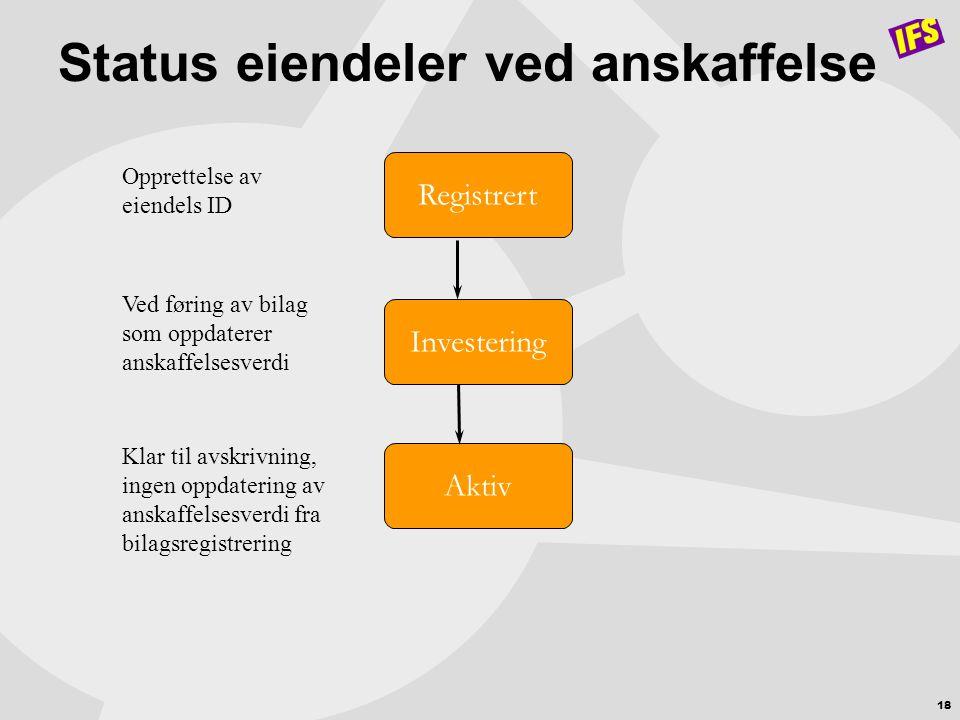 Status eiendeler ved anskaffelse