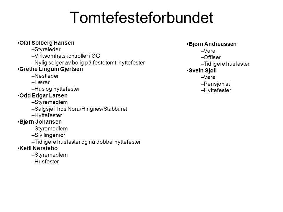 Tomtefesteforbundet Olaf Solberg Hansen Styreleder
