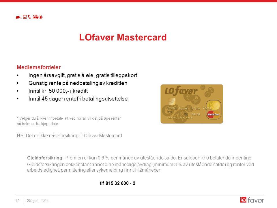 LOfavør Mastercard Medlemsfordeler