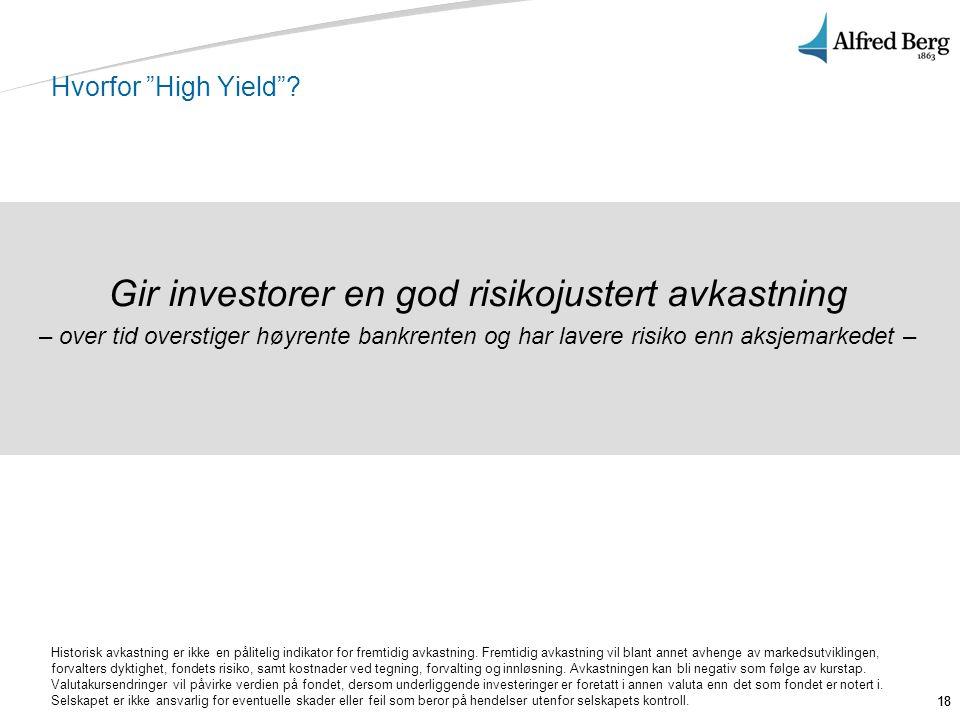 Gir investorer en god risikojustert avkastning