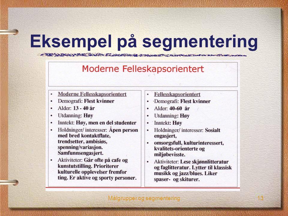 Eksempel på segmentering