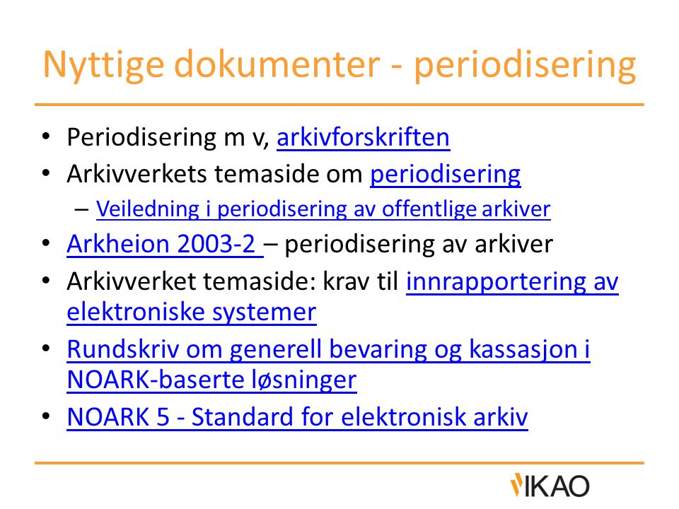 Nyttige dokumenter - periodisering