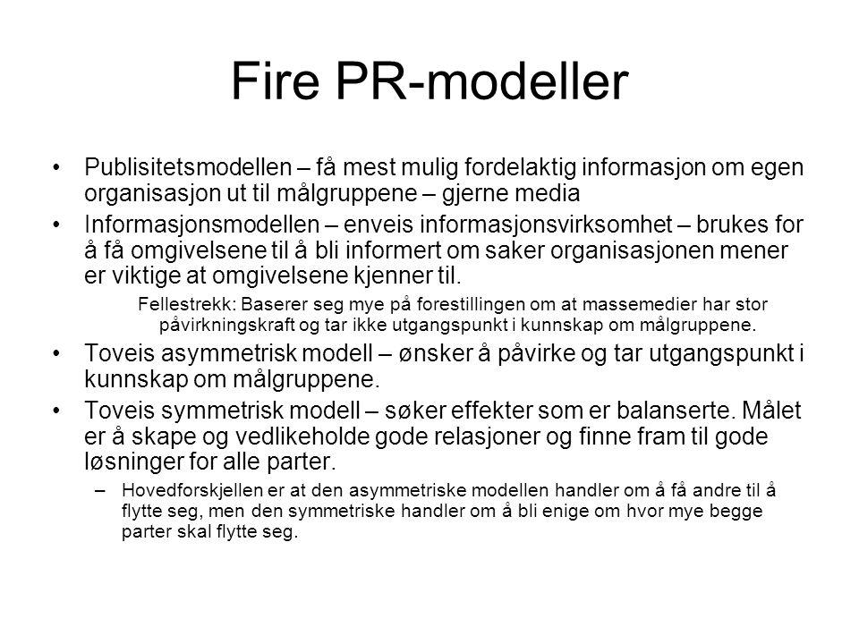 Fire PR-modeller Publisitetsmodellen – få mest mulig fordelaktig informasjon om egen organisasjon ut til målgruppene – gjerne media.