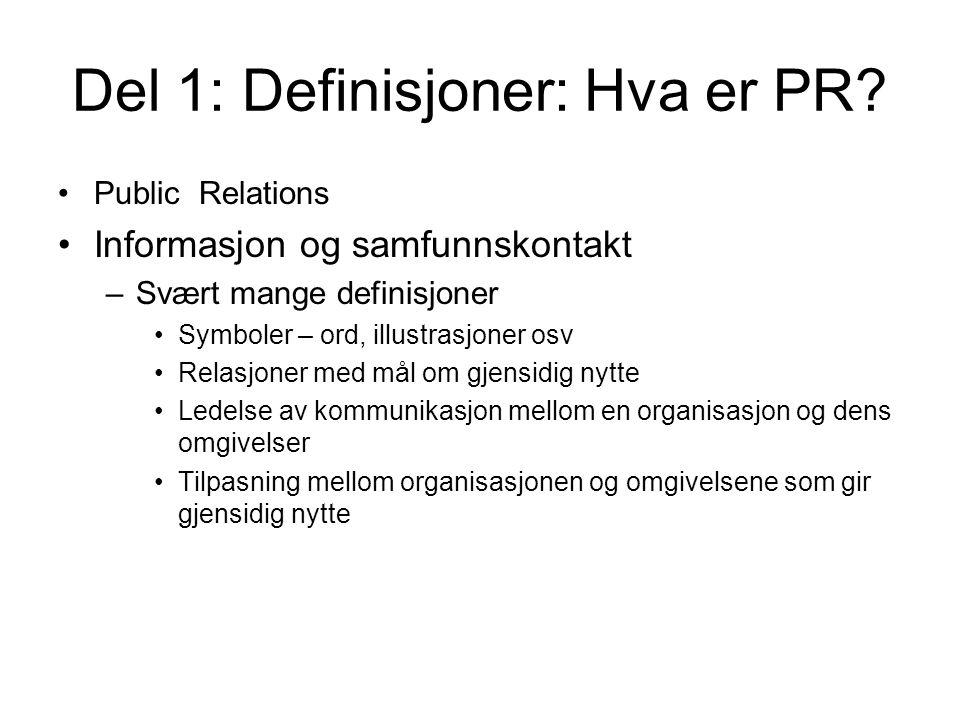 Del 1: Definisjoner: Hva er PR
