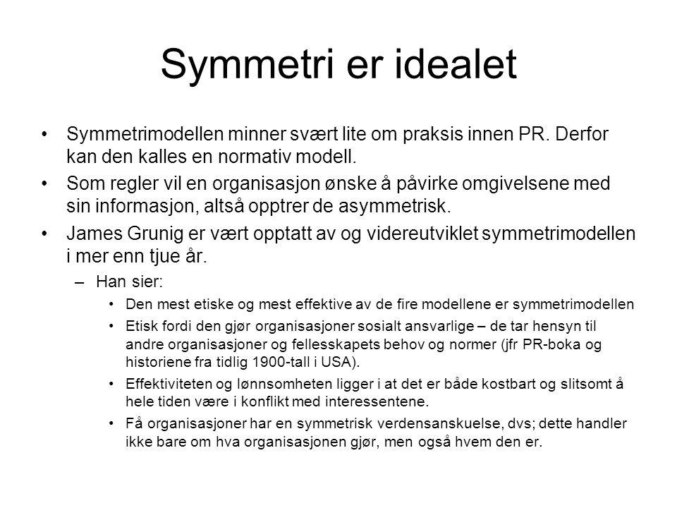 Symmetri er idealet Symmetrimodellen minner svært lite om praksis innen PR. Derfor kan den kalles en normativ modell.