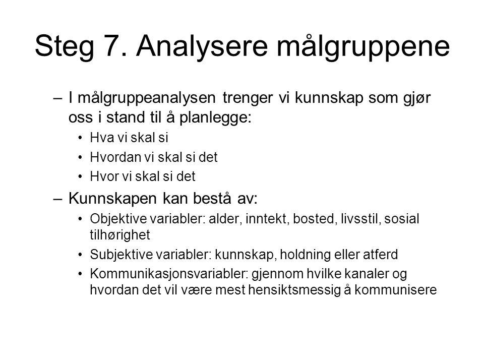 Steg 7. Analysere målgruppene