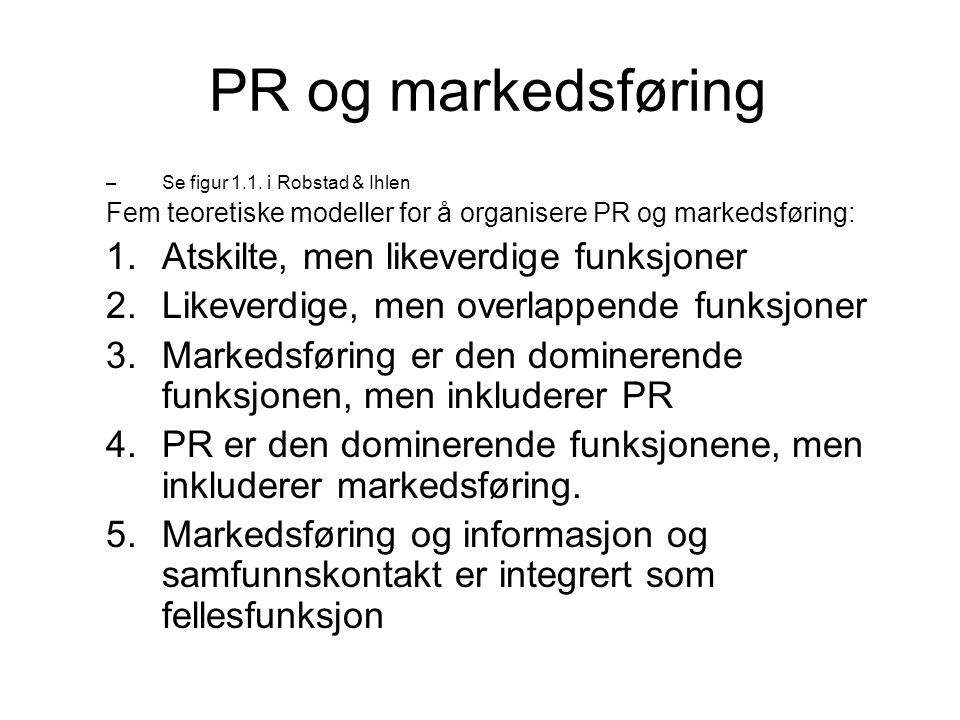 PR og markedsføring Atskilte, men likeverdige funksjoner