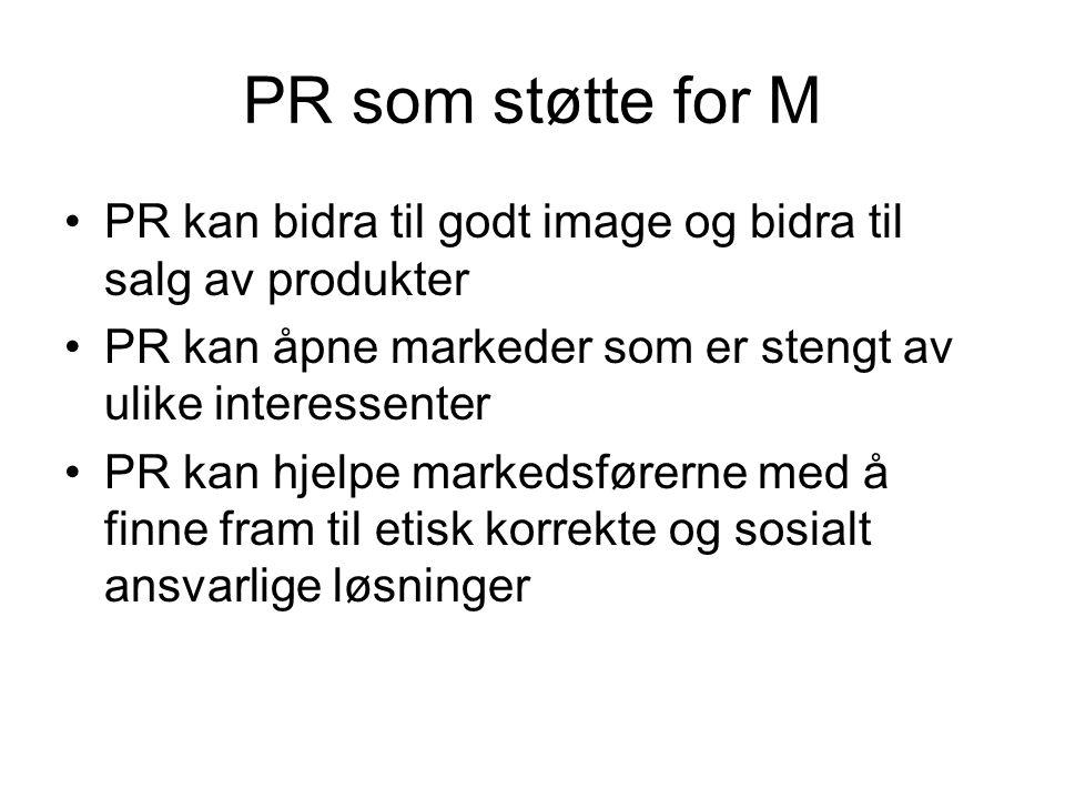 PR som støtte for M PR kan bidra til godt image og bidra til salg av produkter. PR kan åpne markeder som er stengt av ulike interessenter.