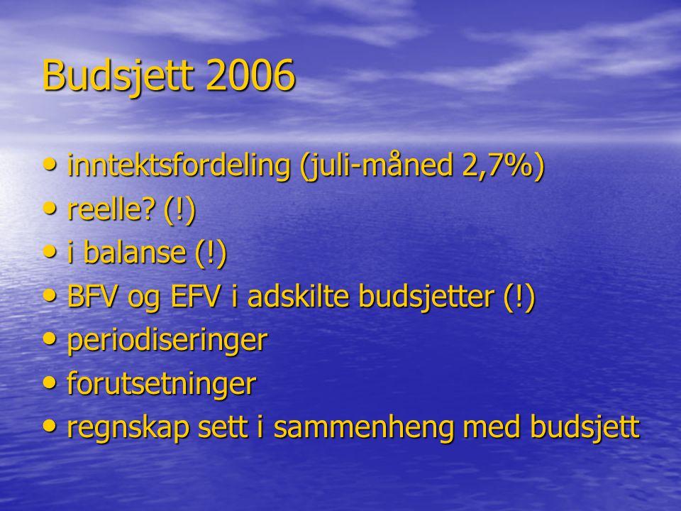 Budsjett 2006 inntektsfordeling (juli-måned 2,7%) reelle (!)