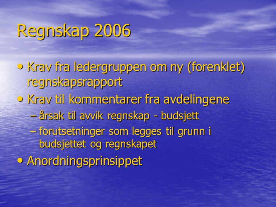 Regnskap 2006 Krav fra ledergruppen om ny (forenklet) regnskapsrapport