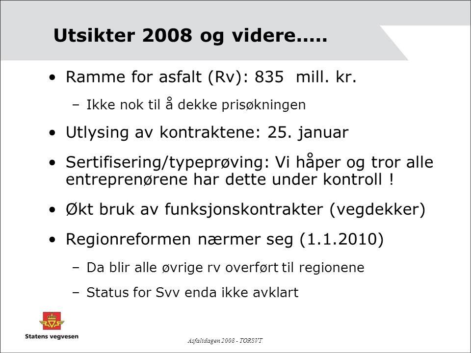Utsikter 2008 og videre..... Ramme for asfalt (Rv): 835 mill. kr.