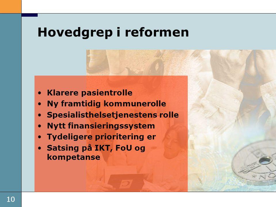 Hovedgrep i reformen Klarere pasientrolle Ny framtidig kommunerolle