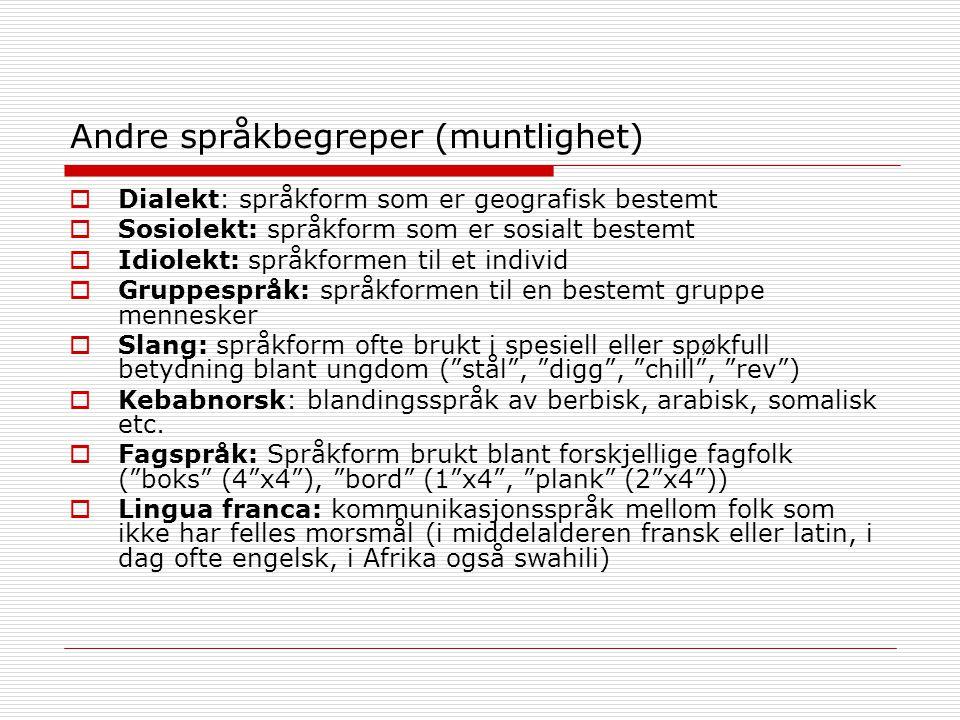 Andre språkbegreper (muntlighet)