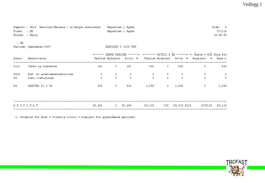 Vedlegg 1 Rapport : GL03 Resultat/Balanse - m/lengre kontotekst Høgskolen i Agder Side: 3.