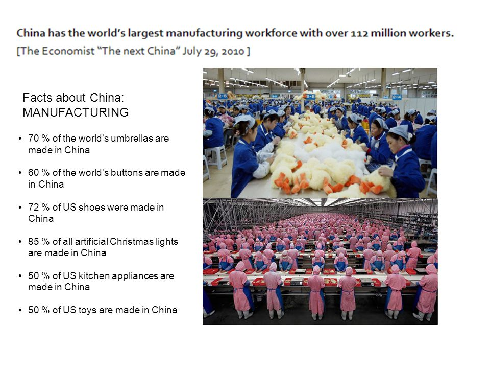 Facts about China: MANUFACTURING