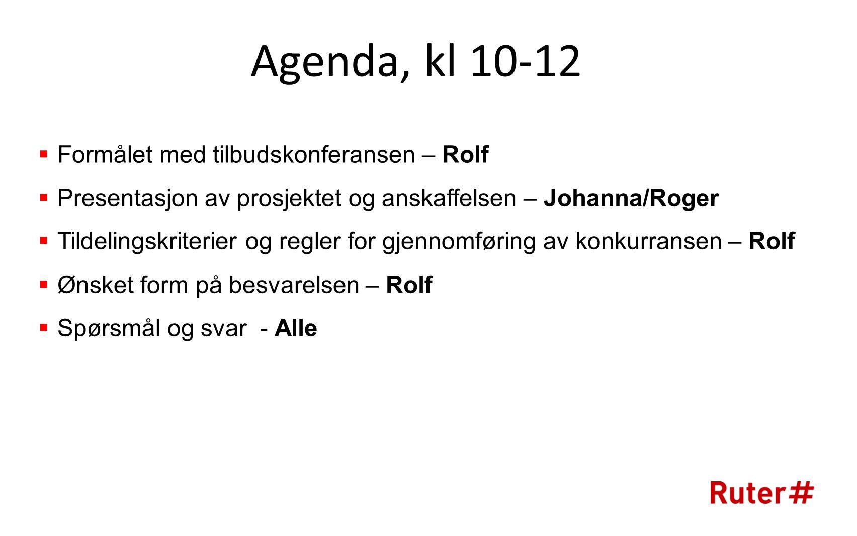 Agenda, kl 10-12 Formålet med tilbudskonferansen – Rolf