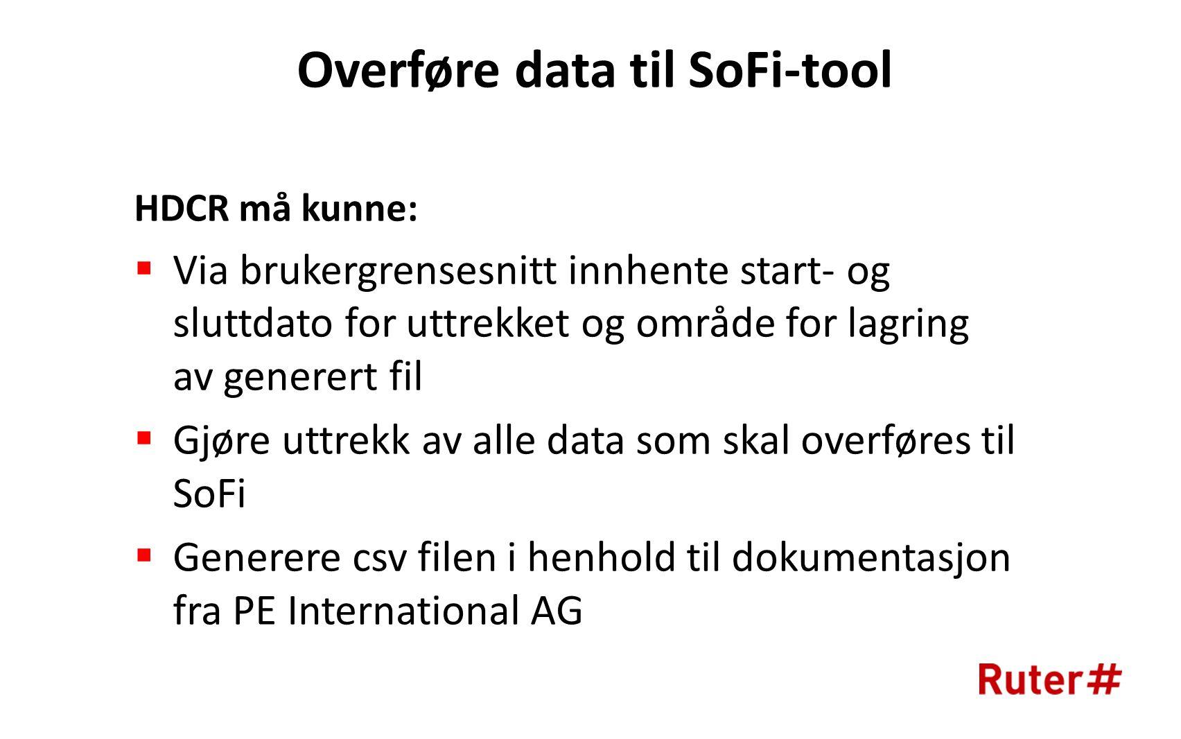 Overføre data til SoFi-tool