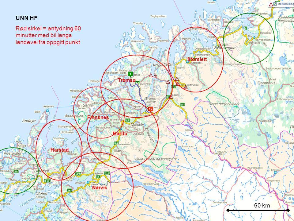 UNN HF Rød sirkel = antydning 60 minutter med bil langs landevei fra oppgitt punkt. Storslett. Tromsø.