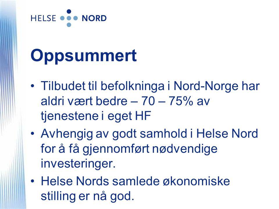 Oppsummert Tilbudet til befolkninga i Nord-Norge har aldri vært bedre – 70 – 75% av tjenestene i eget HF.
