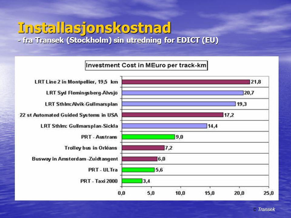 Installasjonskostnad - fra Transek (Stockholm) sin utredning for EDICT (EU)