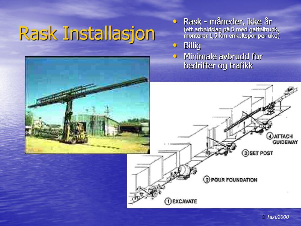 Rask Installasjon Rask - måneder, ikke år (ett arbeidslag på 5 med gaffeltruck, monterer 1,5 km enkeltspor per uke)