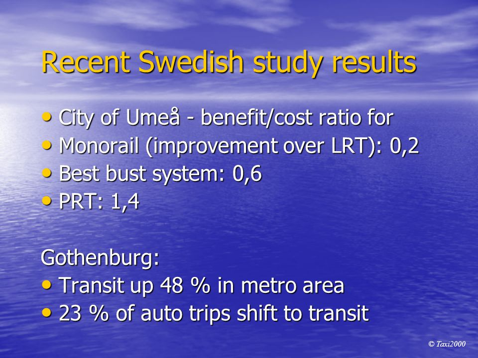 Recent Swedish study results