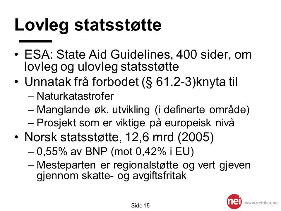 Lovleg statsstøtte ESA: State Aid Guidelines, 400 sider, om lovleg og ulovleg statsstøtte. Unnatak frå forbodet (§ 61.2-3)knyta til.