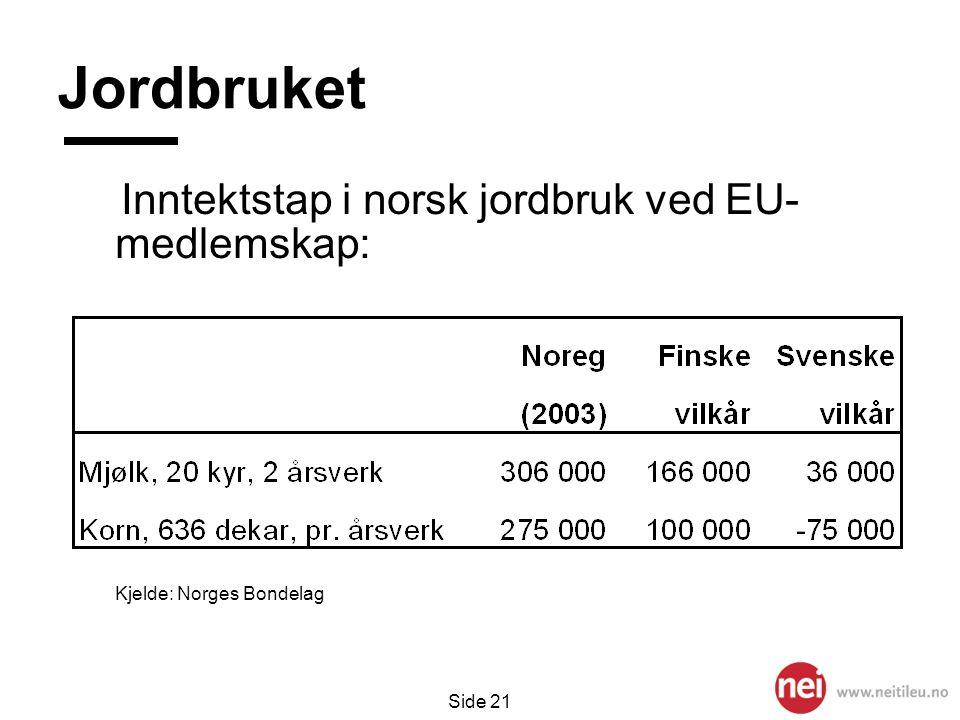 Jordbruket Inntektstap i norsk jordbruk ved EU- medlemskap: