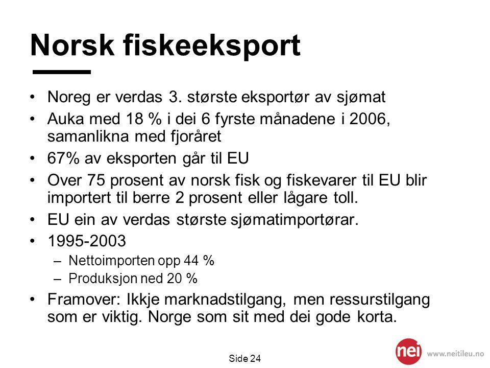 Norsk fiskeeksport Noreg er verdas 3. største eksportør av sjømat