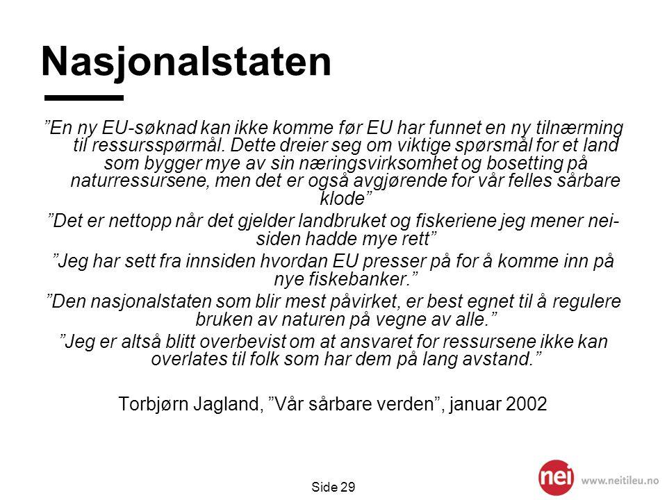 Torbjørn Jagland, Vår sårbare verden , januar 2002
