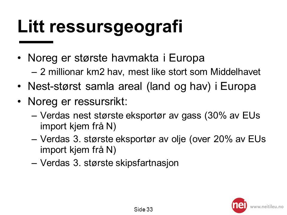 Litt ressursgeografi Noreg er største havmakta i Europa